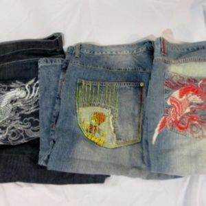 Lot MIZKEEN Designer Fashion Embroidered Shorts